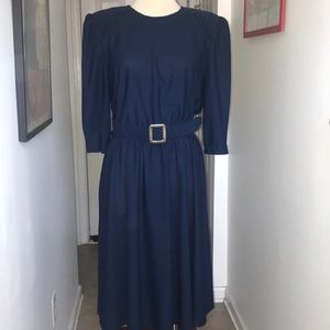 Vintage Blue Dress with belt by Tabby Size 16😘